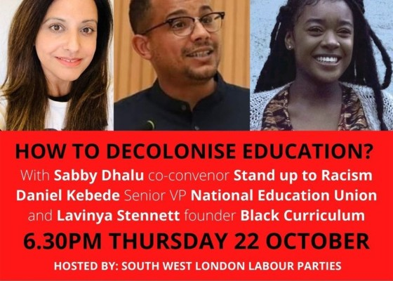 BLM West London Labour decolonise curriculum event poster