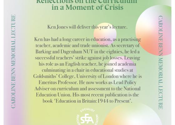 Caroline Benn Memorial Lecture event poster