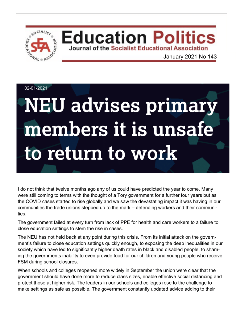 Front Cover: Education Politics journal publication (Jan 2021), No. 143