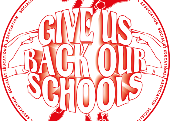 Give Us Back Our Schools Campaign graphic artwork